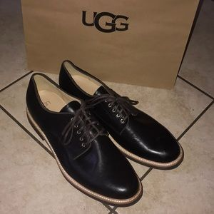 UGG MENS JOVIN BLACK LEATHER OXFORDS #13
